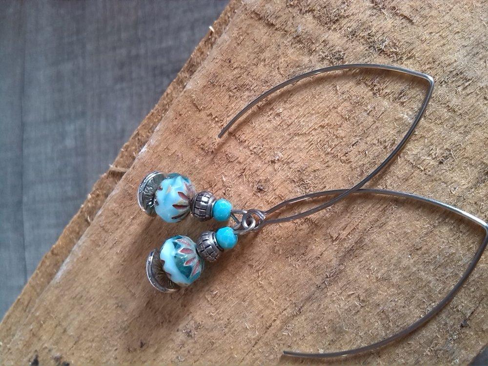 Boucles d'oreilles turquoise grand crochet