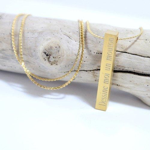 Collier / sautoir barre acier doré * création personnalisée * avec gravure