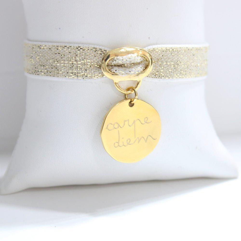 Bracelet élastique avec médaille gravée Or Jaune, création personnalisée unique - Acier inoxydable