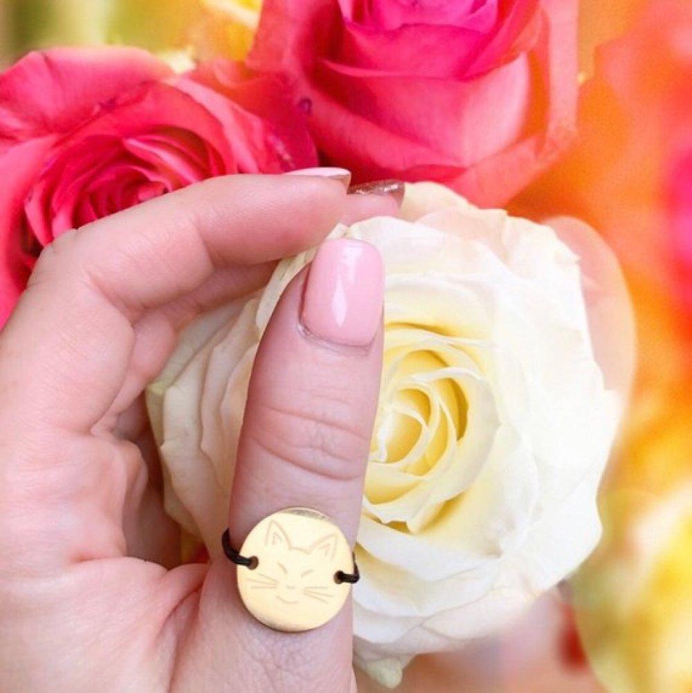 Bague reglable avec pendentif gravé * Création personnalisé * Or jaune