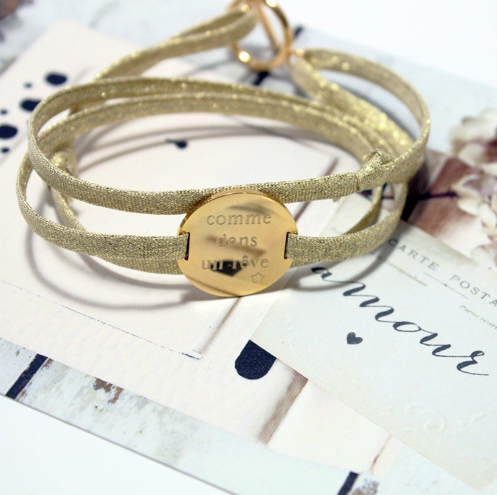 Bracelet Scintillant réglable avec gravure personnalisée * création sur mesure *