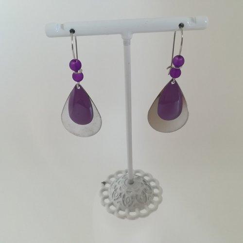 Kit boucles d'oreilles goutte métal argent mat et sequin émail violet