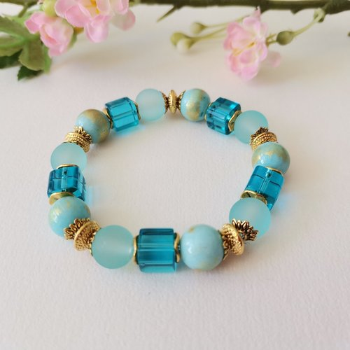 Kit bracelet fil élastique perles jade bleu