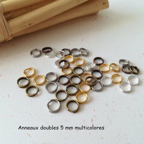 Anneaux doubles 5 mm multicolore x 50