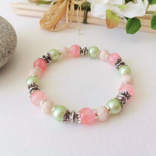 Kit bracelet fil élastique perles saumon, beige et verte