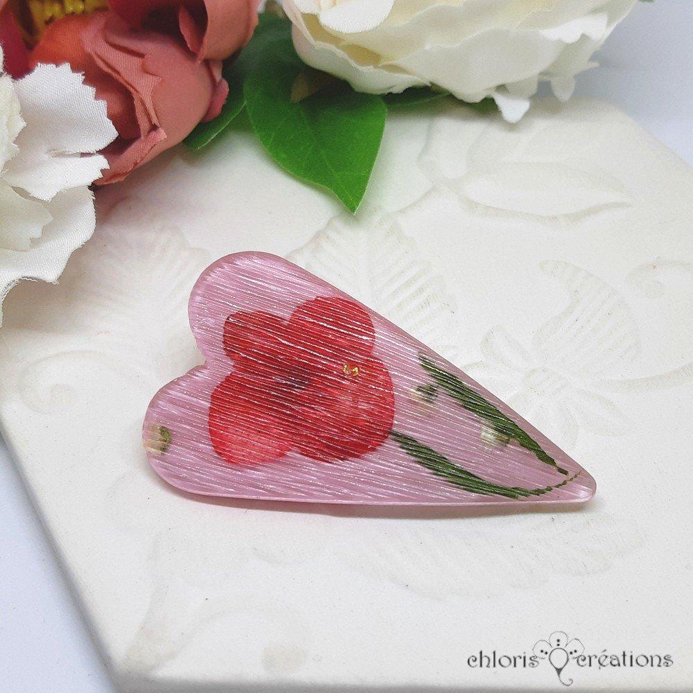 Grande broche **Coeur Glam' ** en résine et véritables fleurs séchées