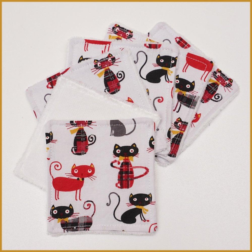 lot de 6 lingettes lavables chats anglais