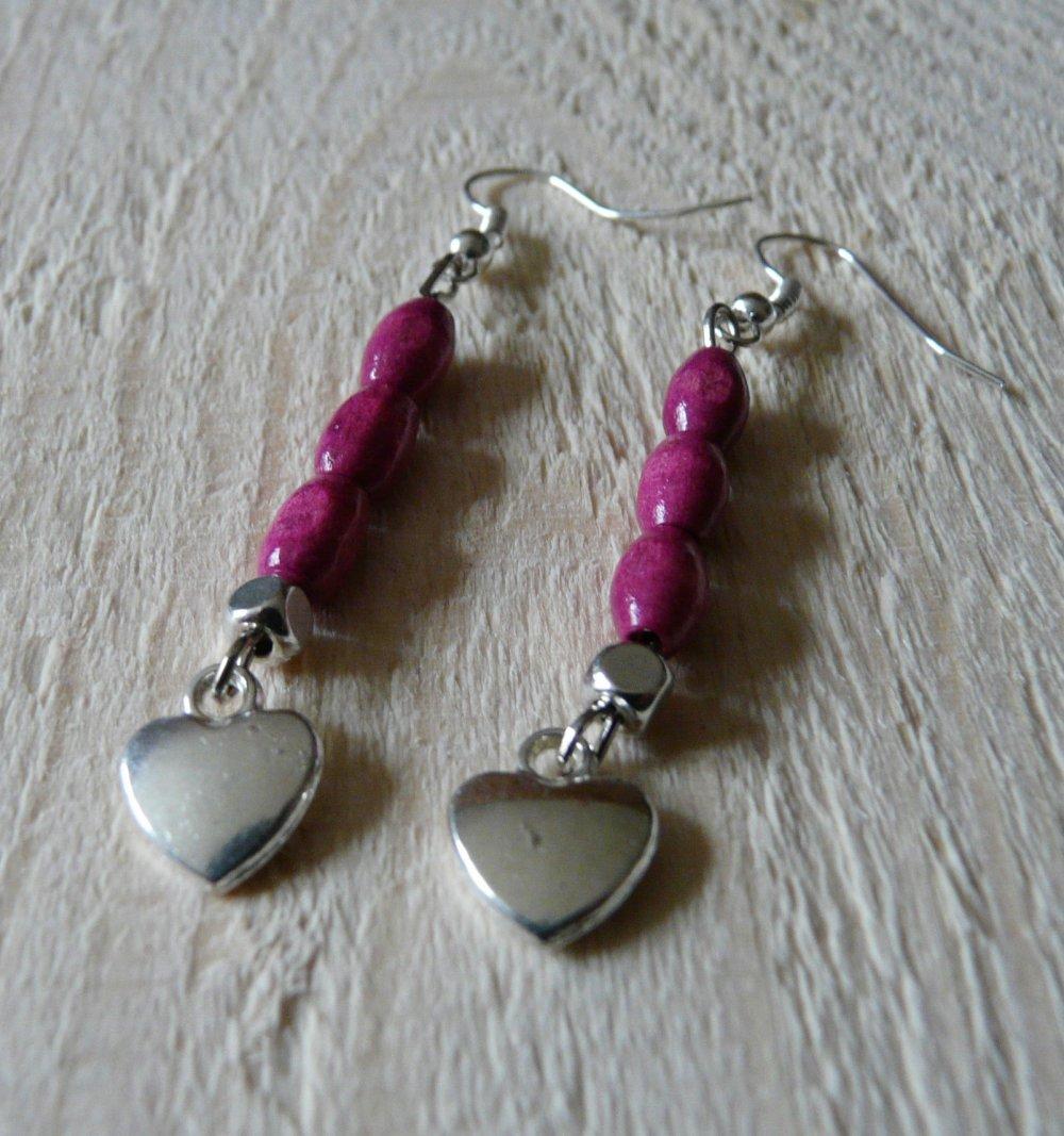 Boucles d'oreilles cœur et perles en bois ovales