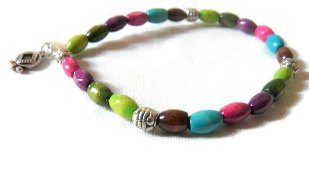 Bracelet Couleur d'été perles en bois et argentées