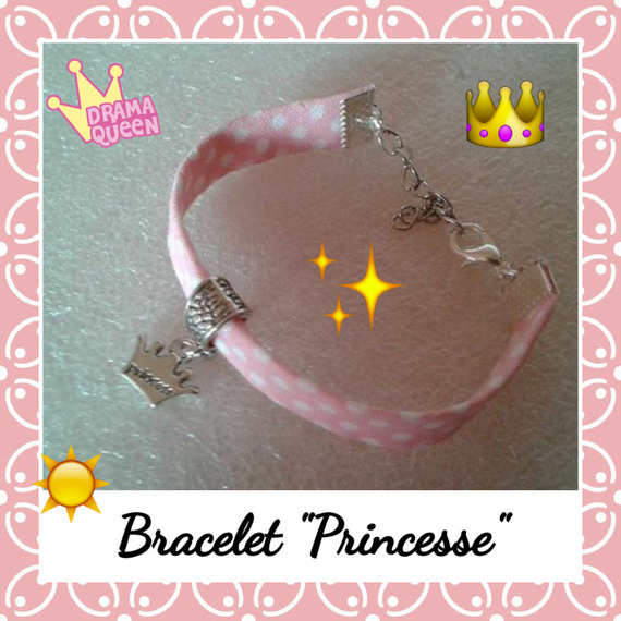 "Bracelet enfant  fillette rose à pois blancs ""Princesse"" en breloque argentée"