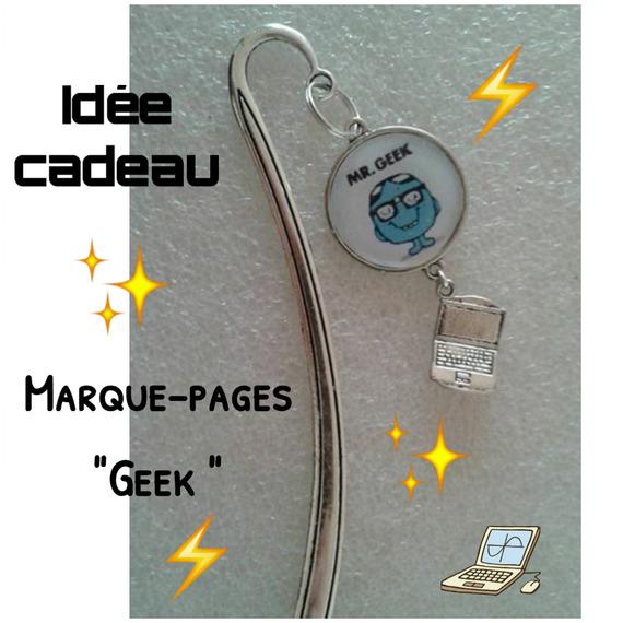 """Marque-pages argenté """"geek """" (grand format) avec mini ordinateur"""