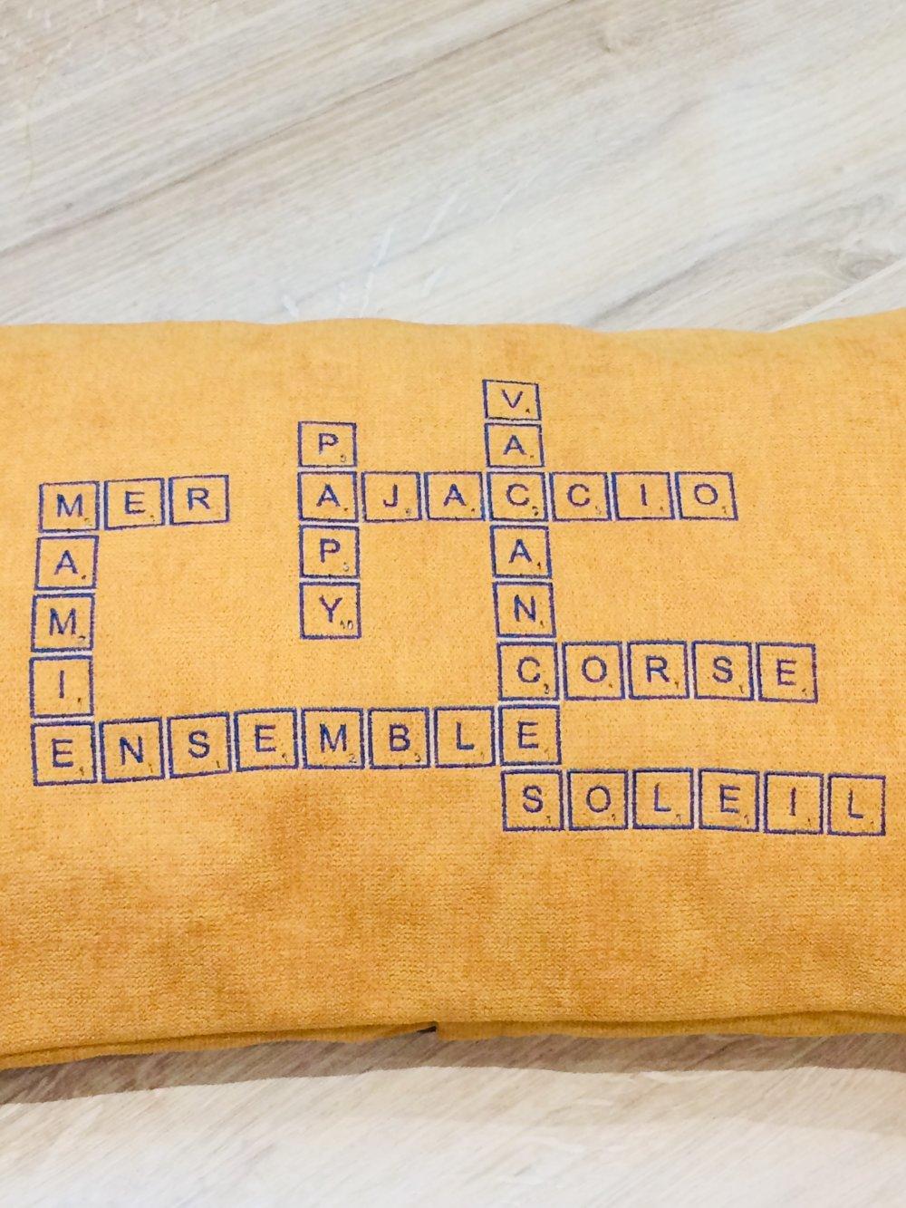 Housse de coussin personnalisable Scrabble avec coussin *SUR COMMANDE*