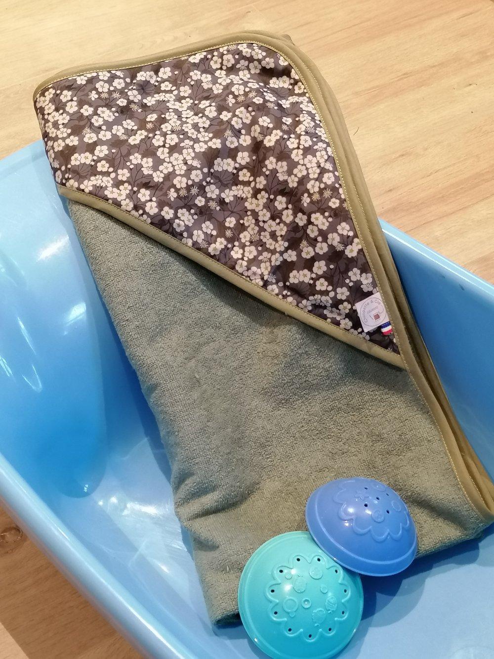 Cape de bain en éponge de bambou liberty mitsi valeria gris / Sortie de bain