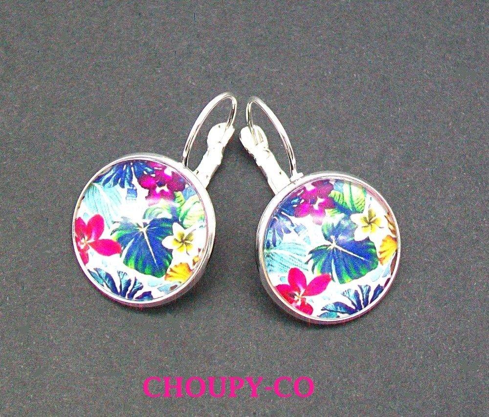 Boucles d'oreilles cabochon * Tropical * fleurs exotiques bleu fuchsia turquoise argenté boucles pendantes colorées fantaisie