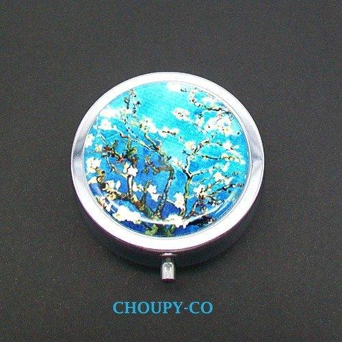 Pilulier boîte à pilules rond * van gogh * tableau oeuvre amandier en fleurs bleu et blanc ...