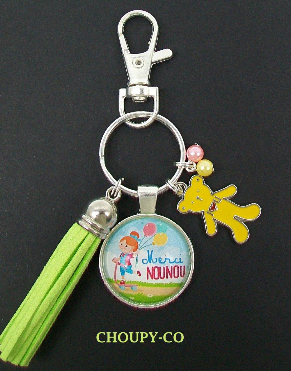 Porte-clés, bijou de sac, cabochon * merci nounou * fillette, ballon, perles,pompon, argenté, cadeau pour nounou.