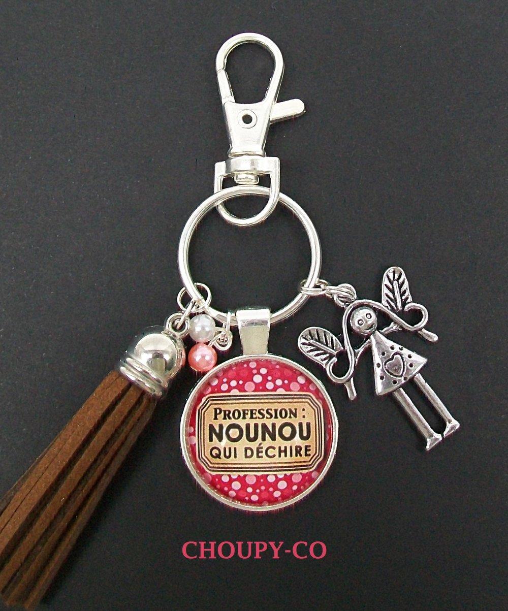 Porte-clés ou bijou de sac cabochon * profession nounou qui déchire * rose pois blancs argenté pompon cadeau nounou.