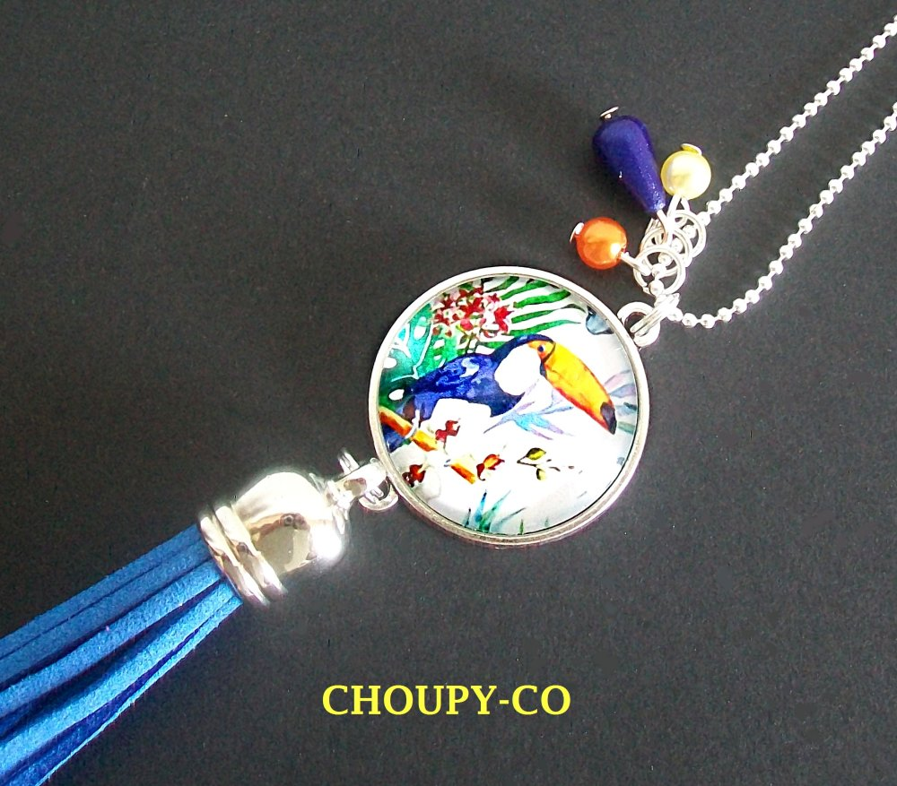 Boucles d'oreilles cabochon * tropical * toucan oiseau fleurs exotique turquoise bleu argenté dormeuses idée cadeau