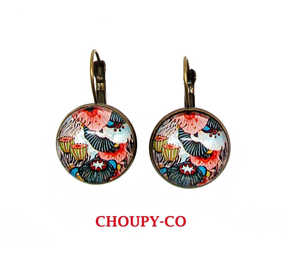 Collier pendentif rond cabochon * fleurs aquatiques * corail bleu bronze collier long coloré femme choupy-co