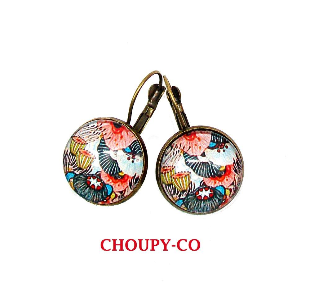 Boucles d'oreilles cabochons * fleurs aquatiques * monde marin fleuri coloré corail bleu bronze boucles pendantes femme