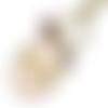 Porte-clés pendentif ovale cabochon * maman chérie * coeur doré rayures rose et blanc bronze accessoire sac idée cadeau fête des mères