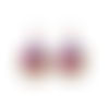Boucles d'oreilles cabochon * frida kahlo * mexicaine, artiste peintre, art, argenté, fleurs, boucles pendantes, fantaisie