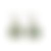 Boucles d'oreilles, gouttes, cabochon * fleurs du japon * vert, blanc, boucles pendantes, bronze, femme, idée cadeau, anniversaire, noël .