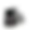 Coffret, boucles d'oreilles + bague, cabochon * fleurs * noir, blanc, argenté, parure, fantaisie, femme.