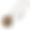 Collier, pendentif, cabochon * arbre de vie * klimt, art, peintre, beige, argenté, femme.