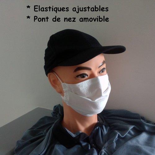 Masque de protection tissu en coton blanc uni épais avec pont de nez amovible - homme