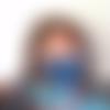 3d - masque de protection, barrière et sanitaire forme 3d tissu en coton dessin géométrique bleu et blanc - ado, femme