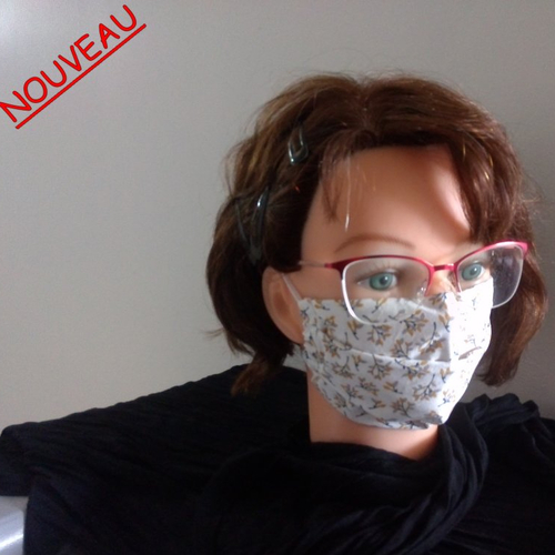 Afnor - masque de protection tissu motif rameaux sur fond blanc - ado, femme
