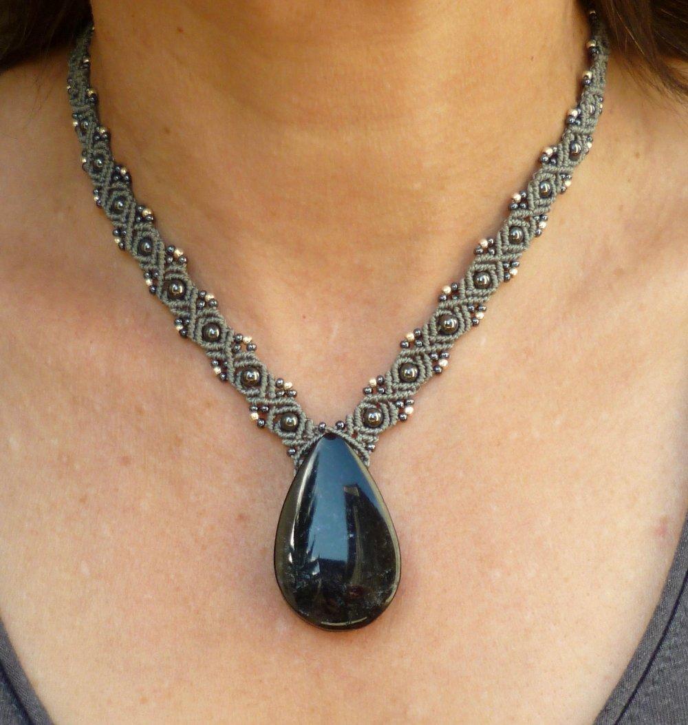 Collier macramé et Obsidienne Argentée