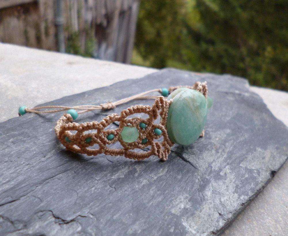 Bracelet macramé feuilles et Amazonite