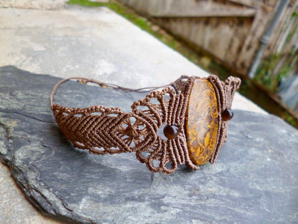 Bracelet macramé et Jaspe fossile