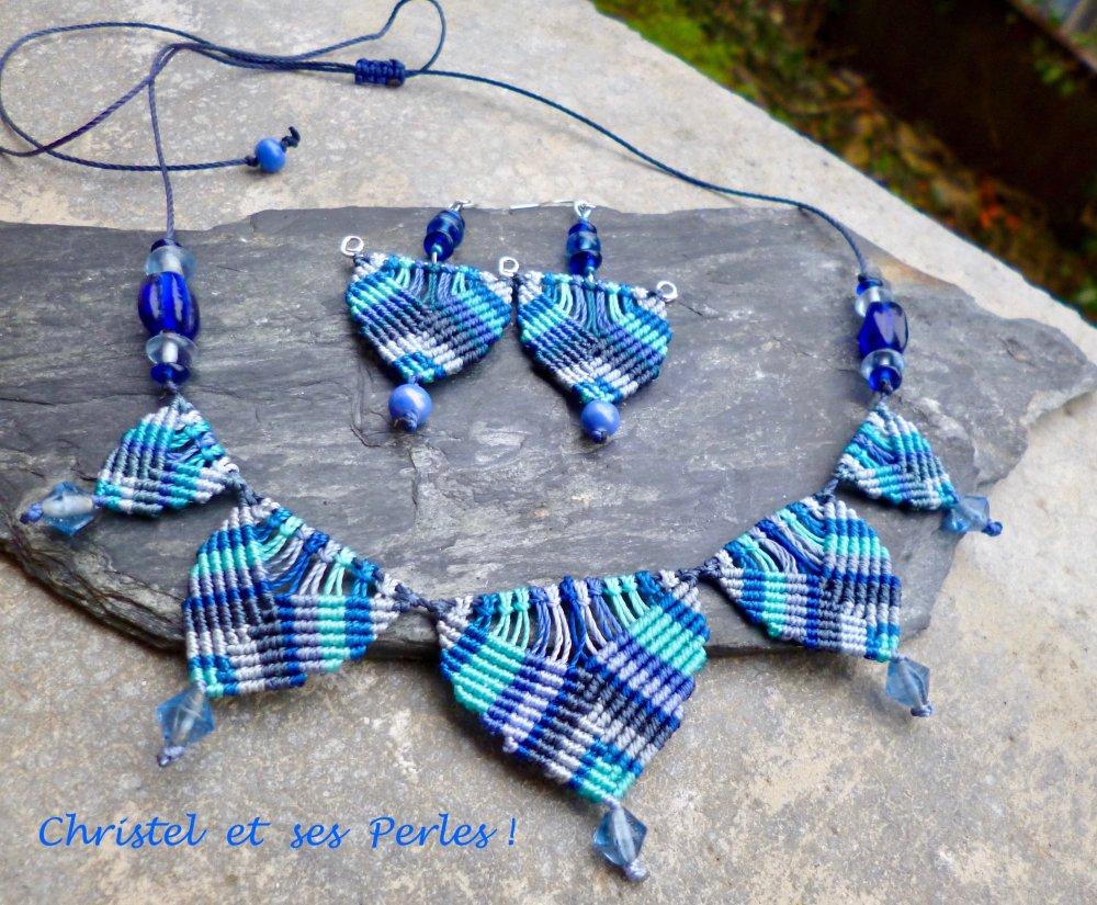Collier macramé camaïeu bleu