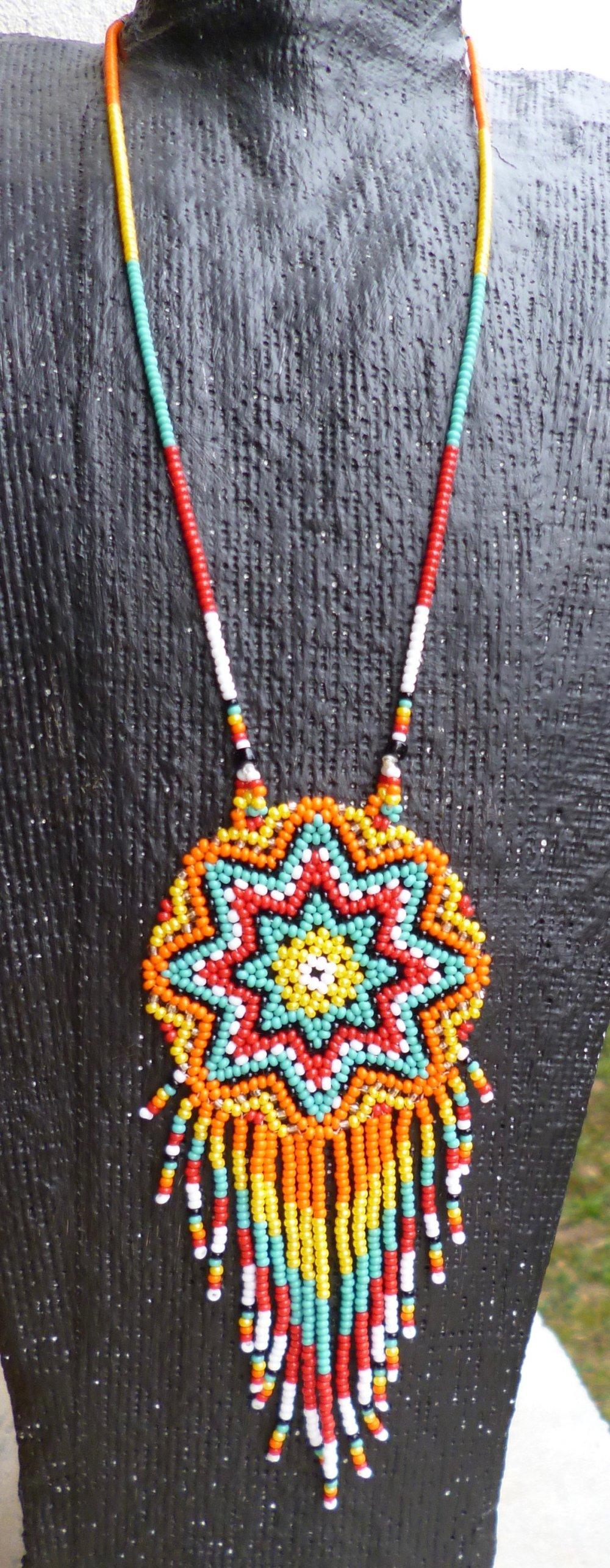 Pendentif Mandala Huichol turquoise etc