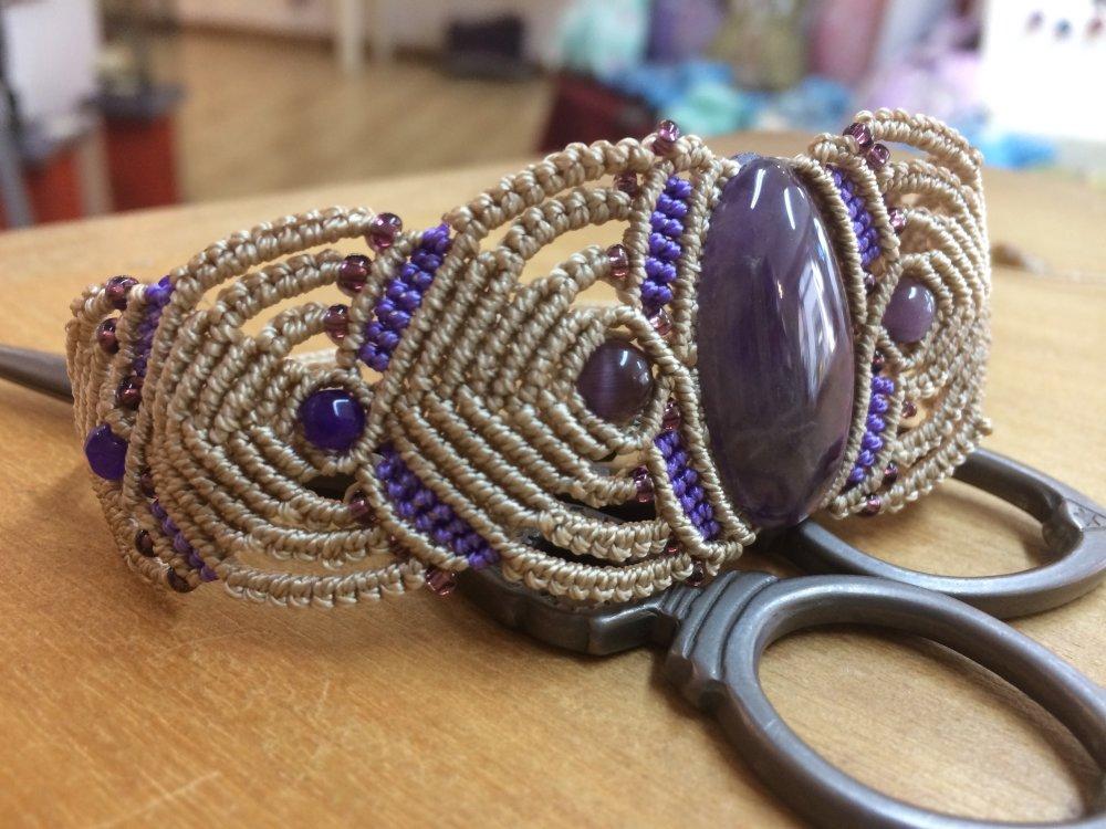 Bracelet macramé et Améthyste