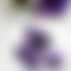 Lot de 6 perles effet vieilli en acrylique tete de mort violette