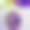 1 grand camée ovale femme au miroir mauve nacrée en résine
