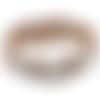 Support bracelet coeurs en cuir ajouré marron pour bouton pression