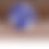 Bouton pression chunk en métal argenté et strass bleus (x1)