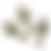 4 breloques/pendentifs grand ventilateur en métal bronze