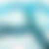 Ruban bleu turquoise motif léopard (x 1 mètre)