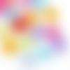 20 perles transparentes forme trèfle en acrylique ( couleurs aléatoires)