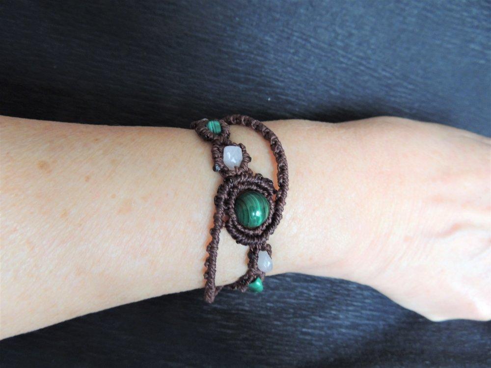 Bracelet en macramé marron, malachite et quartz rose