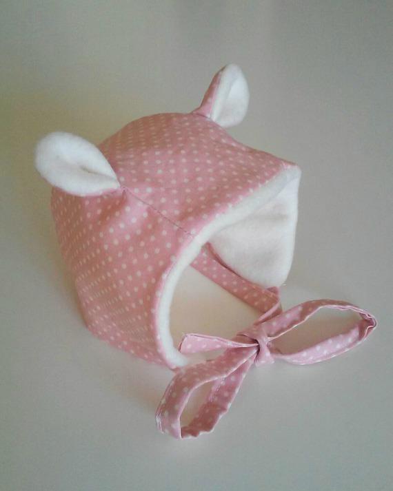Bonnet polaire à oreilles rose poudré