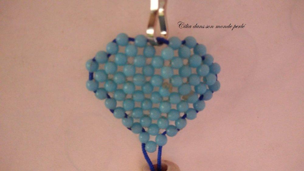 Porte clés / bijou de sac cœur et perles - love