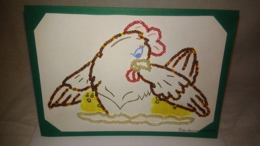 Vendue - Réservée - Carte Poulette et poussins
