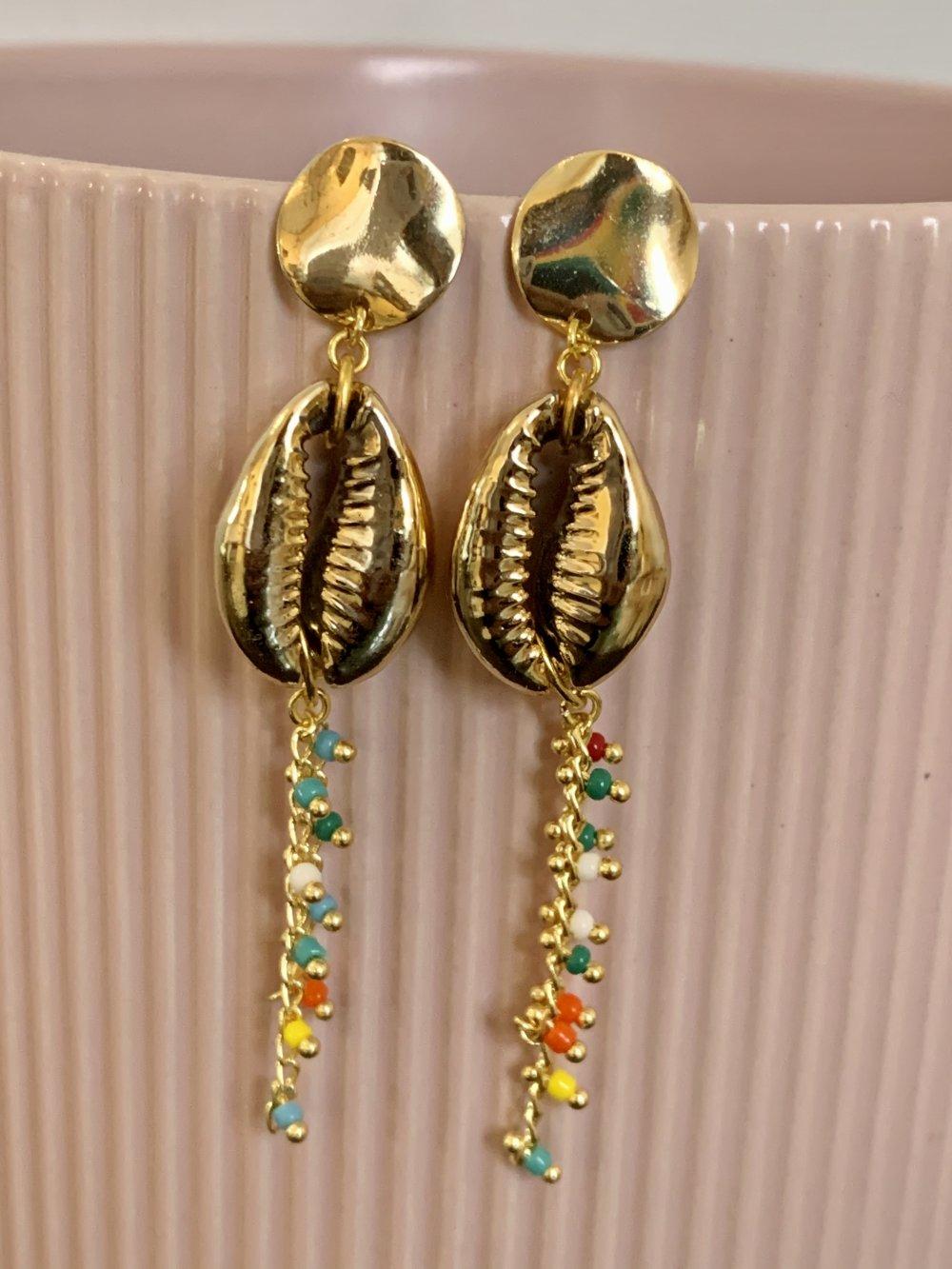 Boucles d'oreilles Femme/Boucles d'oreilles pendantes Cauris bohème/Bijoux d'été Doré